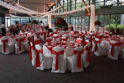 Brown Sashes With Ivory Chair Covers U0026 Linens @ The Hyatt Regency
